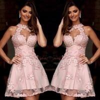 Elegant Halter Applique Lace Homecoming Dresses 2019 Rose Pink Short Prom Dress 8 Grade Graduation Dresses vestidos de 15 cortos