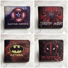 Animation Leather Men Wallets Batman Captain America Spiderm