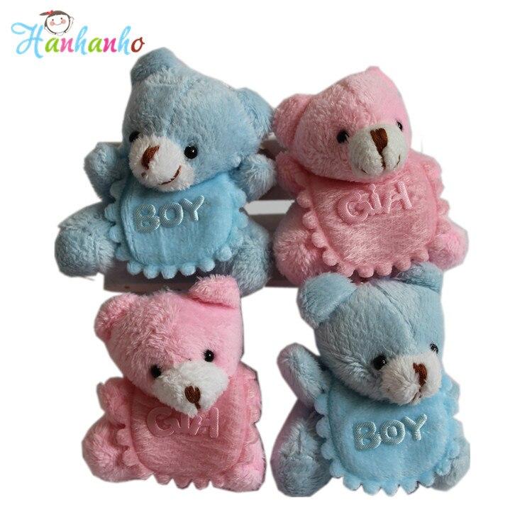 20pcs/Set 5.5cm Baby Birth Announcement Party Supplies Mini Sitting Teddy Bear Plush Toy Small Gift Key Chain