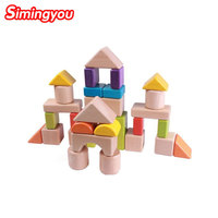 Simingyou Learning Education Wooden Color Smooth Stack Puzzle Build A Castle House Building Kids Toys B40