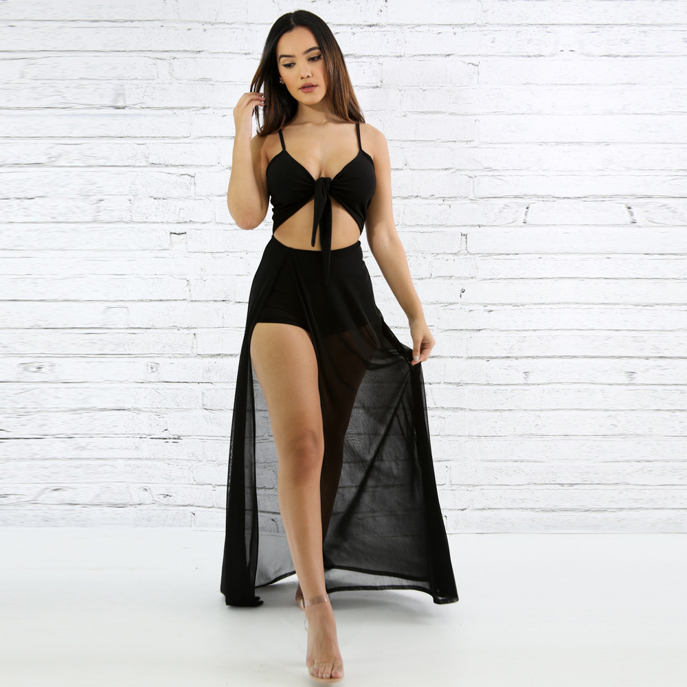 Women Sheer Mesh Maxi Dress Patchwork Spaghetti Strap Sexy long dress Beach Style High Split Party Club Outfit Vestidos in Dresses from Women 39 s Clothing