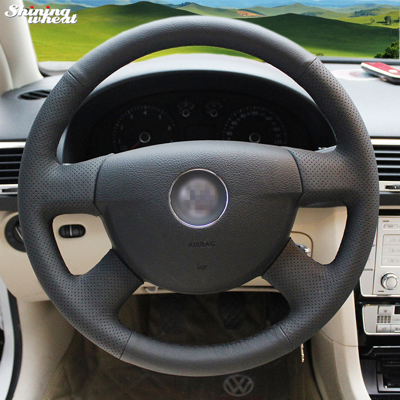 Shining wheat Hand stitched Black Leather Steering Wheel Cover for Volkswagen VW Passat B6
