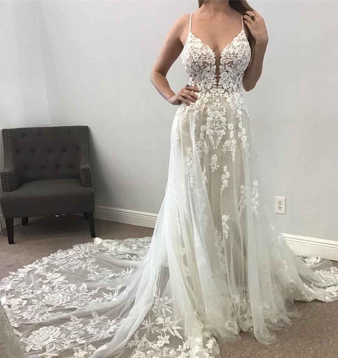 2020 חדש שמלות ספגטי רצועות תחרת אפליקציות שמלות כלה נדל תמונות אונליין כלה שמלה