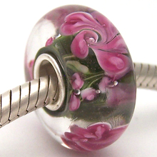 Glass-Beads Jewelry Bracelet Charms Diy Lampwork Sterling-Silver Murano Fit PJG1058 100%S925