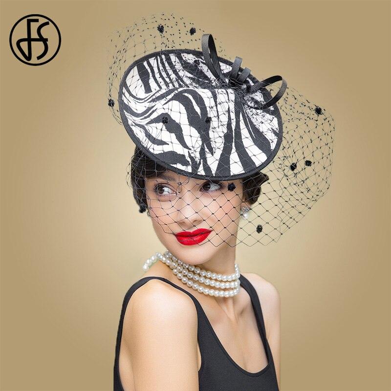 FS Fascinator Black zebra Stripe Hats Ladies Weddings Dress Hat With Veil For Women Summer Elegant