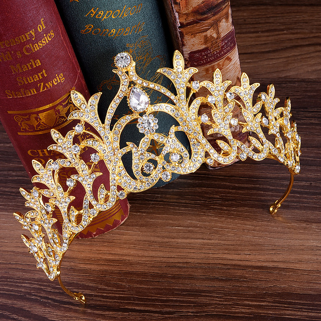 Gold Alloy Leaf Shaped Crystal Wedding Crown Tiara and Crown Bridal  Accessories Hair Jewelry Ornaments 8c4725d4da4f