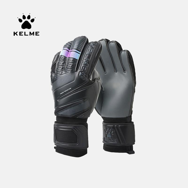 KELME Kids Men Goalie Soccer Goalkeeper Gloves Thicken Full Latex Foam Professional Training Football Gloves 5 Finger Save Guard