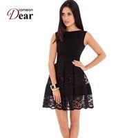 Comeondear fit ve flare patenci dress yuvarlak boyun kolsuz dantel insert sevimli kısa dress rj80049 zip artı boyutu sweet siyah dress