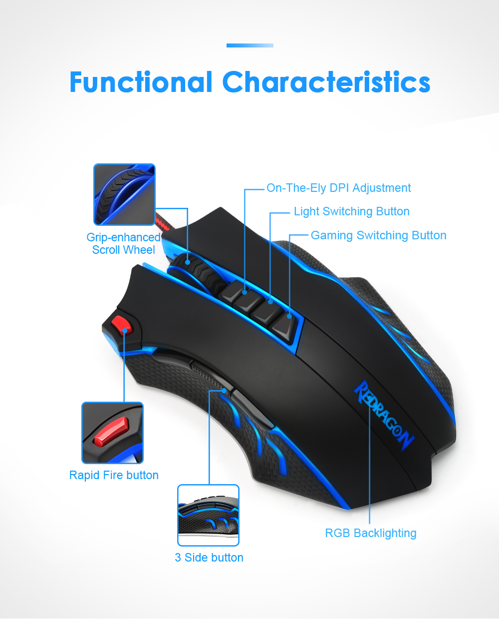 Redragon USB wired RGB Gaming Mouse 24000DPI 10 buttons laser programmable game mice LED backlight ergonomic for laptop computer 10