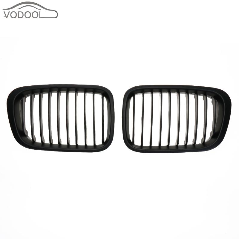 1 Pair ABS Matte Black Car Front Kidney Grille Racing Grills for BMW E46 98-01318i 320i 325i 330i 1998-2001 Auto Accessories 1 slat front kidney grill grille front bumper grid for bmw 3 series e46 pre lci 2 door 1998 2001 abs material grille