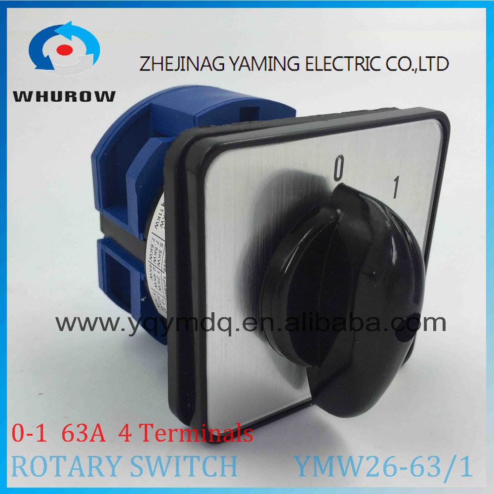 LW26 YMW26-63/1 Rotary switch 2 postion (0-1)  690V 63A 1 pole 4 terminal screw universal changeover cam main switch 16a 500vac 12 screw terminal 4 positions universal changeover switch