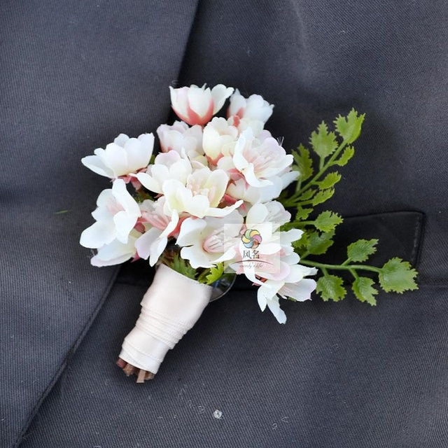 Match Corsage Pin Groom Groomsman Party Prom Wedding Flowers Cherry Blossom Best Man Boutonniere Branches