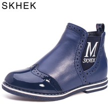 SKHEK Kids Boots for girl  boys Winter Children Rubber Outsole Ankle Girl Shoes For PU Leather Blue Girls Waterproof