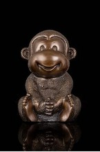 Lucky handicraft antique bronze Little monkey figurines Chinese zodiac mascot statue fengshui  products art collection