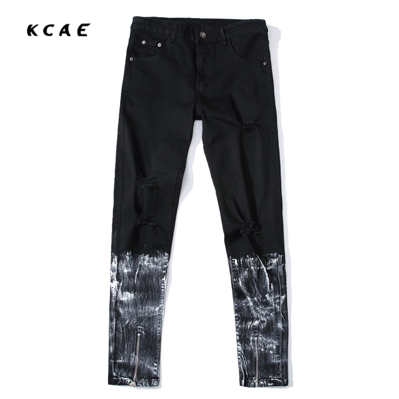 New Fashion Ripped Skinny Black Jeans Men's Personality Rock Style Jean Pants Homme Slim Fit Pants For Men Distressed Jeans