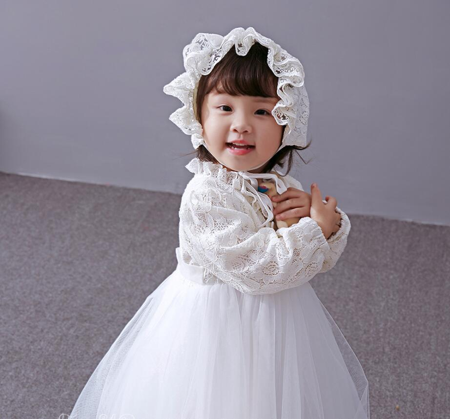 771f676ae58 3PCs per Set Baby Girl Baptism Dress Off White Infant Girl Christening Gown  Lace Silver Crown Headband Embroidery Hat 0 24Months-in Dresses from Mother  ...