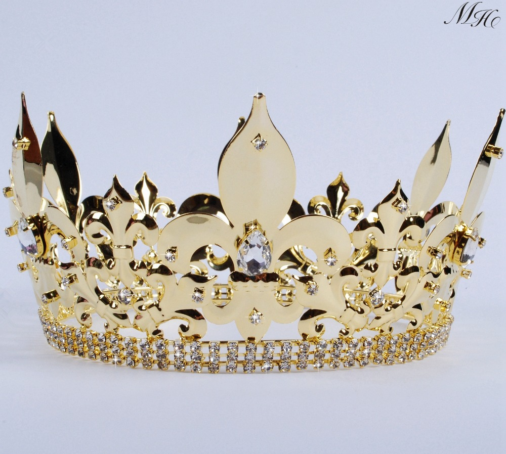For Men Full Round Crown Imperial Medieval Large Tiara Diadem Clear Crystals Rhinestones
