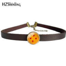 2018 New Black Brown Leather Choker Necklace Glass Photo Art Pendant Dragon Ball Stars Leather Necklaces Vintage Jewelry Round(China)