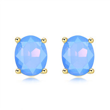 1 Pair Fashion Women Stud Earrings Inlay Opal Cutting Imitation Lady Earring Delicate Jewelry Accessories M