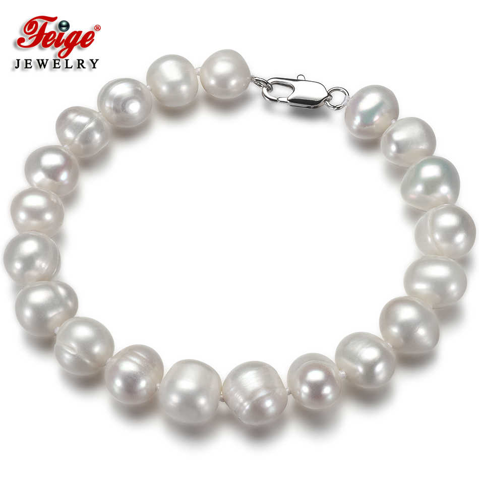 White Natural Pearl Bracelets for Women Handmade Fine Jewelry Gifts 8-9MM White Freshwater Pearl Bracelets Wholesale FEIGE