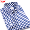 Spring summer 100% cotton high quality pattern men business plaid shirts social long-sleeve slim chemise homme camisa masculina