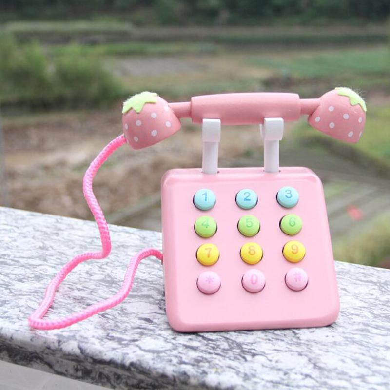 Girl Toys Pink Phone Strawberry Simulation Pink Telephone Furniture Wooden Toys Child Educational Birthday Gift