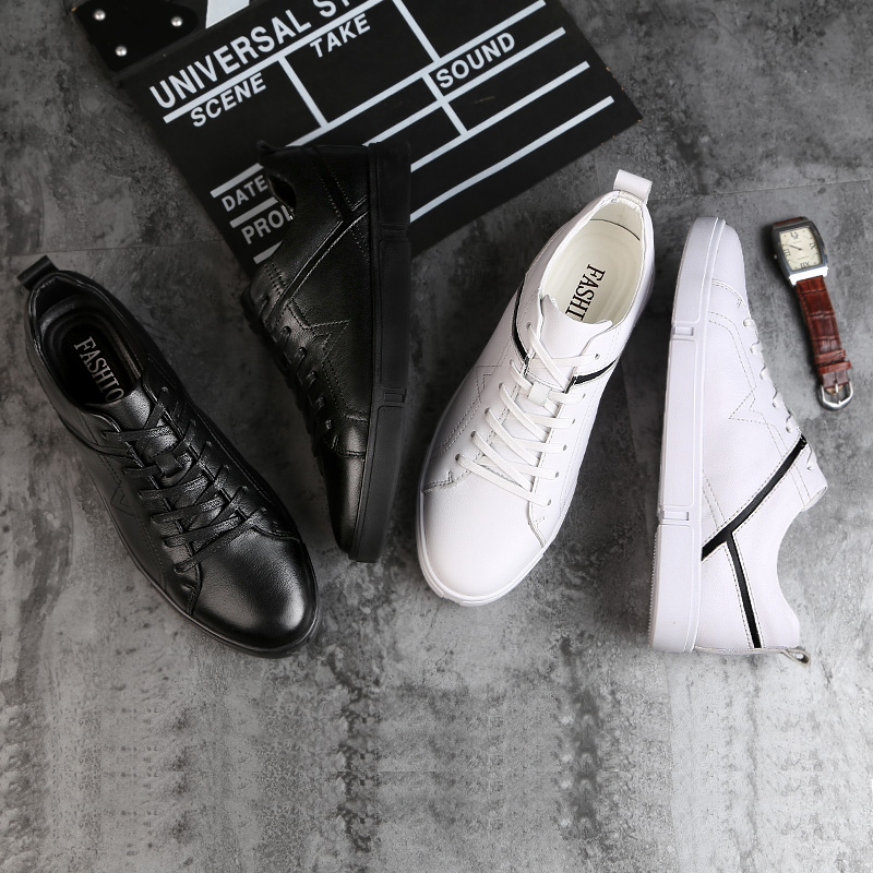 Respirant En Hommes Cuir Noir Chaussures Rond Noir Mode Lacets Plat Antidérapant À Véritable Grand Casual blanc Size45 Bout Style Classique Blanc TZxpEAwfq