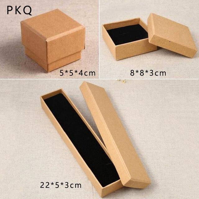 1 Set 3 Pcs Kraft Papier Cadeau Boite Pour Anneaux Collier