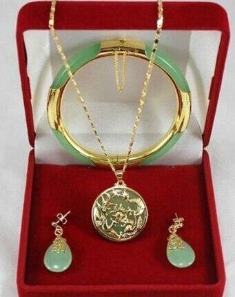 LIVRAISON GRATUITE >>@> livraison gratuite 00708 Charme vert jade Dragon Phoenix pendentifs collier boucle d'oreille bracelet ensemble de bijoux Naturels