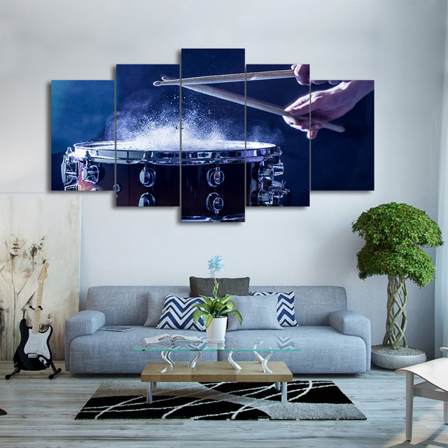 Wall Art Canvas Painting Style Wall Pictures 5 Panel Play The Drums For Living  Room Cuadros