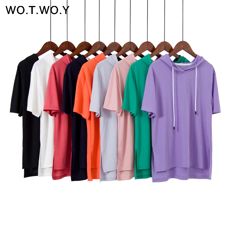 WOTWOY 9 Colorful Hooded T Shirts Women 2019 Summer Cotton Basic Casual Loose Short Sleeve Tops Female White Plus Size Hoodies