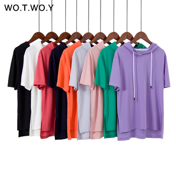 WOTWOY 9 Colorful Hooded T Shirts Women 2019 Summer Cotton Basic Casual Loose Short Sleeve Tops Female White Plus Size Hoodies T-Shirts
