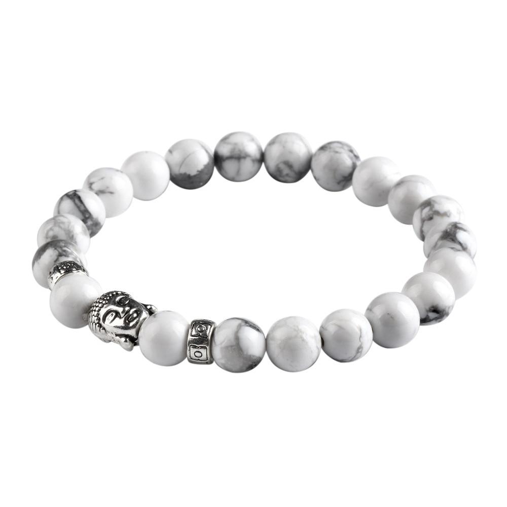 New Natural Stone bead Buddha Bracelets For Women and Men,Silver Buddha White bracelet,pulseras mujer Fine Jewelry