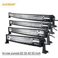 """Auxmart Tri 22 Row """"32"""" 42 """"52"""" DIODO EMISSOR de Luz Bar combo feixe offroad barra de luz caminhão de reboque 4X4 4WD ATV SUV UTV RZV 12 v 24 v"""