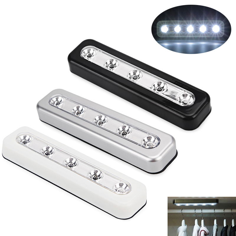 5 LED Battery Operated Stick On Wall Lamp Under Cabinet Cupboard Night Light