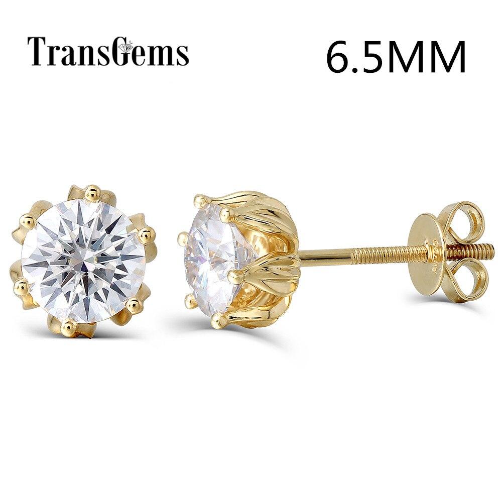 Transgems Flower Shaped 14K 585 Yellow Gold 2ctw 6 5mm FGH Color Moissanite Diamond Stud Earrings