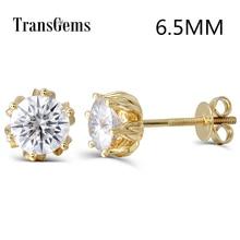 Transgems Flower Shaped 14K 585 Yellow Gold 2ctw 6.5mm FGH Color Moissanite Diamond Stud Earrings For Women Screw Back for Women недорого