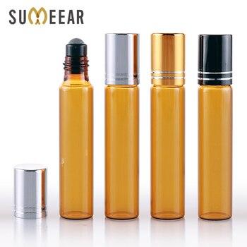 цена на 100Pieces/Lot 10ml Mini Brown glass Aluminum Cap perfume bottle Refillable Perfume Bottle Portable Essential Oils Bottle