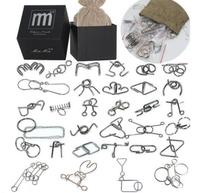 32PCS/Set IQ Metal Wire Puzzle Mind Brain Teaser Magic Puzzles Game Toys for Children Adults