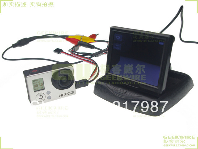 100% new~! Gopro3 HERO3 USB TO AV Video Output & 5V power DC(BEC) input Wire Cable plug free shipping