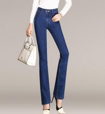 High waist casual denim jeans straight pants for women plus size full length cotton blend spring autumn new fashion zjx0703 2016 korean new fashion spring and autumn jeans for woman plus size slim hip high waist flare pants full length denim jeans