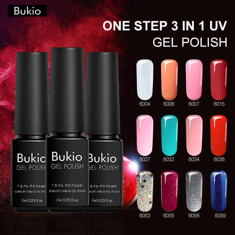Bukio A Set of Gel Varnishes Everything for Manicure One Step 3 In 1 Nail Gel Hybrid Lacquer Semi Permanent Enamel Nails Art