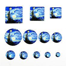 20 adet Van Gogh yıldızlı gökyüzü cam Cabochons takı yapımı için el yapımı yuvarlak kare cam Cabochons 8 ~ 30mm