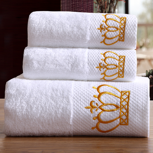 Svetanya Embroidered Crown Hotel White Towels Set 100% Cotton (2Pcs Face  Towels + 1Pc