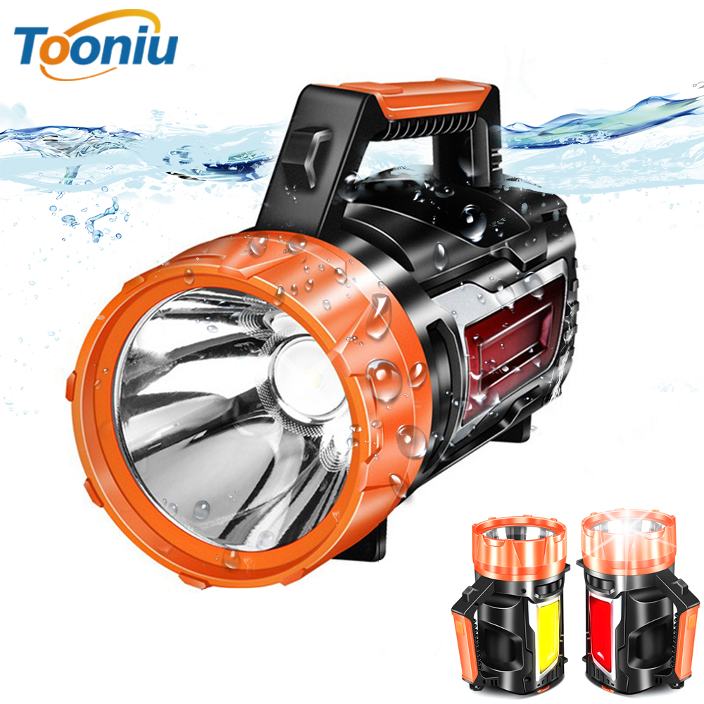 Ultra Bright Portable Spotlight LED Searchlight Flashlight With Side Light Built-in Rechargeable Battery Red Light + White Light