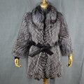 Плюс Размер Натуральный Мех Пальто для Женщин Новые Подлинная Silver лиса Шубу Женщина Зимние Куртки Outerwears пальто Долго Стиль BF-C0441