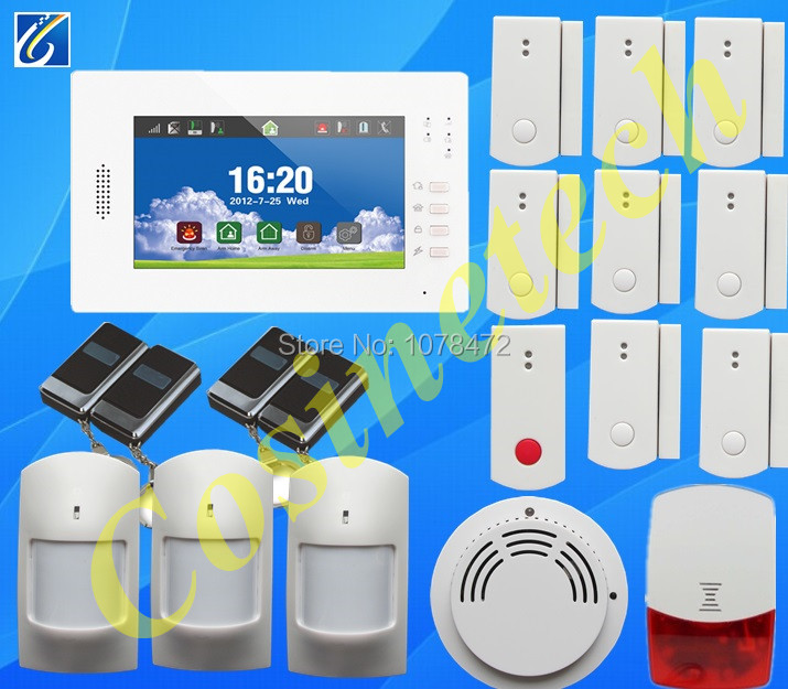 Brand new  7 inch touch screen 868MHZ home security GSM  alarm system with English/German/Italian/Dutch/French/Czech/Finnish gsm alarm system with multi language english german italian dutch menu for option home security 7 inch touch screen home alarm