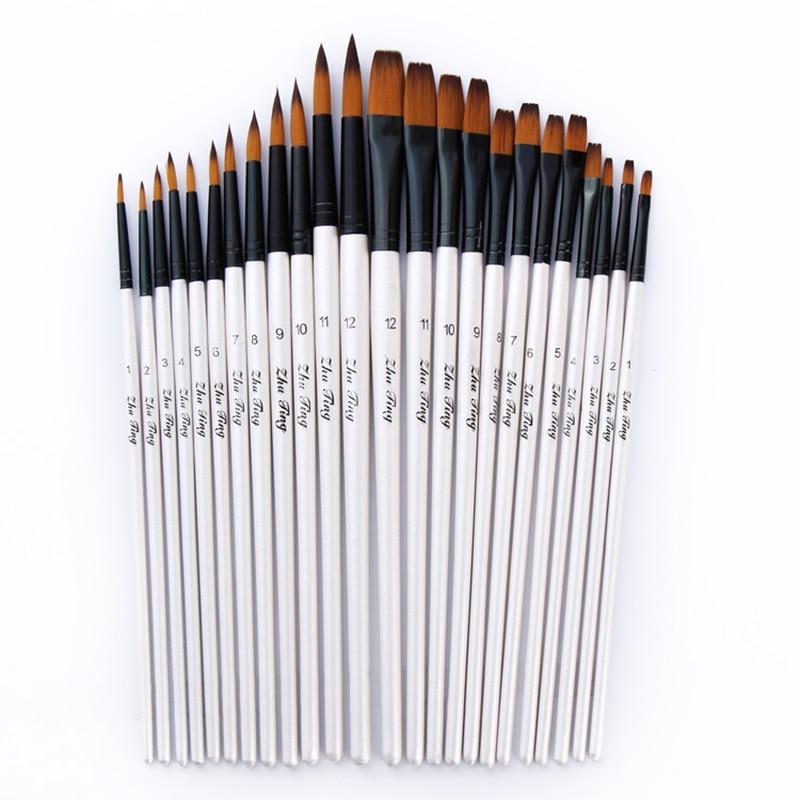 12 шт./компл., нейлоновая Акварельная кисть для рисования, ручка, набор для обучения, сделай сам, деревянная ручка, масляная Акриловая картина, художественные кисти, принадлежности