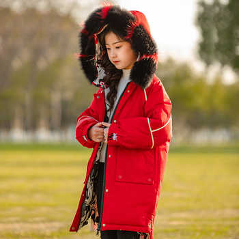 HSSCZL 2019 New girls down jacket duck fashion natural fur collar hooded warm outerwear overcoat children winter thicken coat - DISCOUNT ITEM  50% OFF All Category