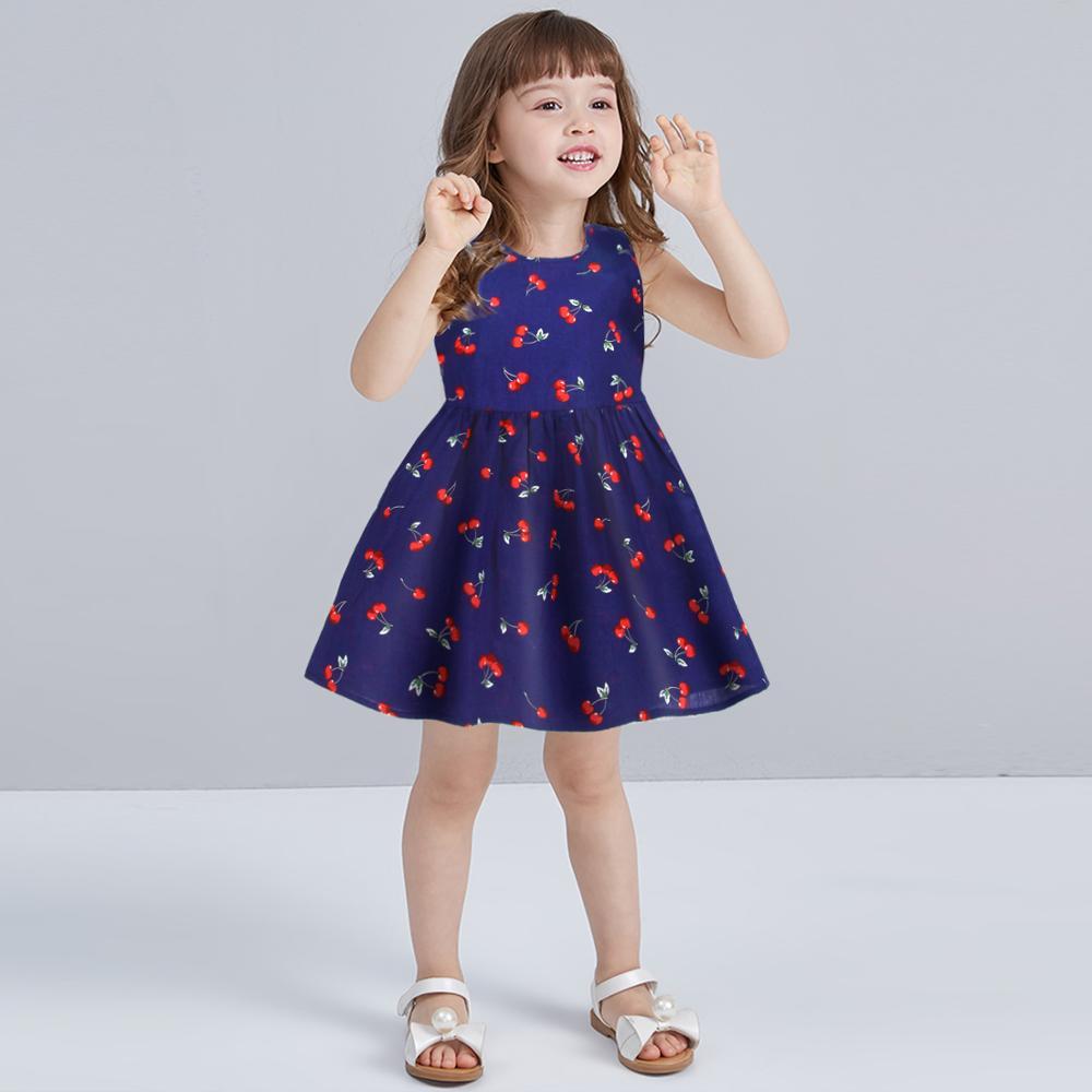 Flickor Blommigrockar söt bomull Ärmlös klänning för barnflicka barnkläder kostym tjejklänningar 2019 för sommaren 2-11 år